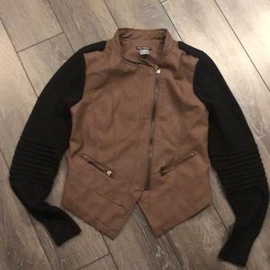 Venus light brown leather and black jacket- sz S